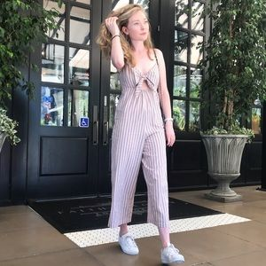 TOPSHOP Striped Cotton Romper